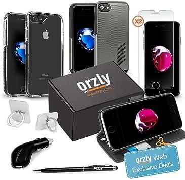 Orzly® Paquete de Accesorios para iPhone 8 / iPhone 7 (Bundle Pack Que Incluye Cargador de Coche USB, Lápiz Stylus, Ring-Stand, Protectores de Pantalla de Cristal Templado y Fundas): Amazon.es: Electrónica
