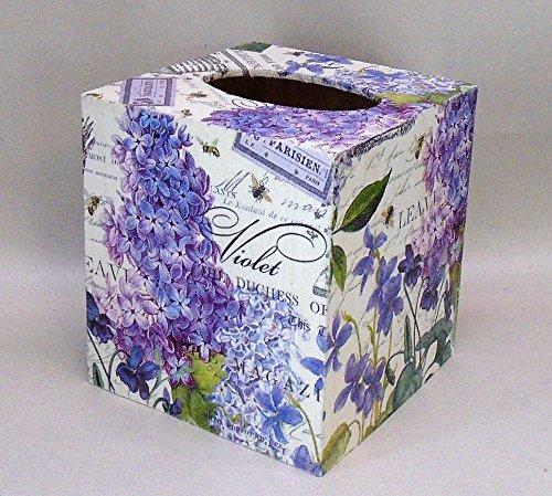 Handmade Decoupage Wood Tissue Box, Violets & Lilacs