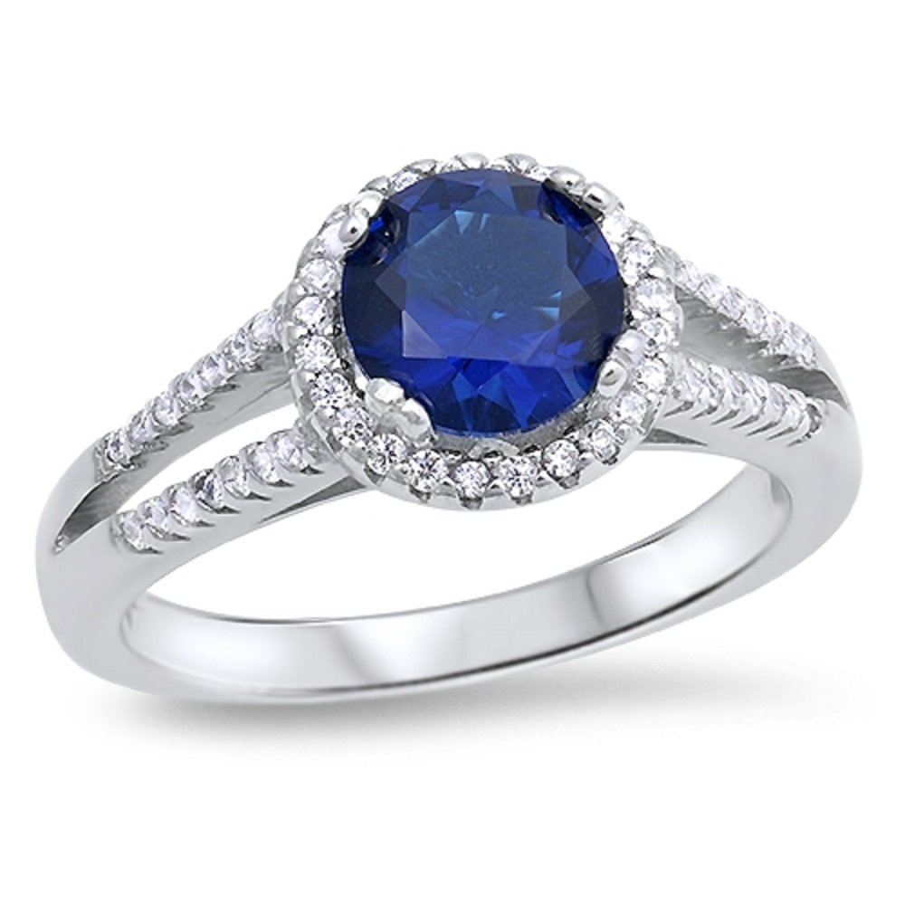 CloseoutWarehouse Round Blue Simulated Sapphire Center with All Arround Clear CZ Stones Solitaire Ring Sterling Silver