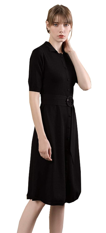 Black UBMEIYI Womens Office Long Sleeve Neck Fitting Tunic Belt Top Blouse