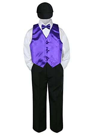 2T 4pc Satin Orange Vest Black Boy Suit Set Baby Toddler Kid Wedding Formal S-4T
