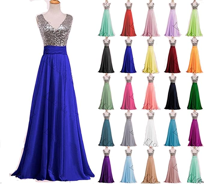 Amazon.com: Momoai Womens Deep V-neck Sequins Prom Dress Long Chiffon Bridesmaid Dress Formal Evening Gown M020: Clothing
