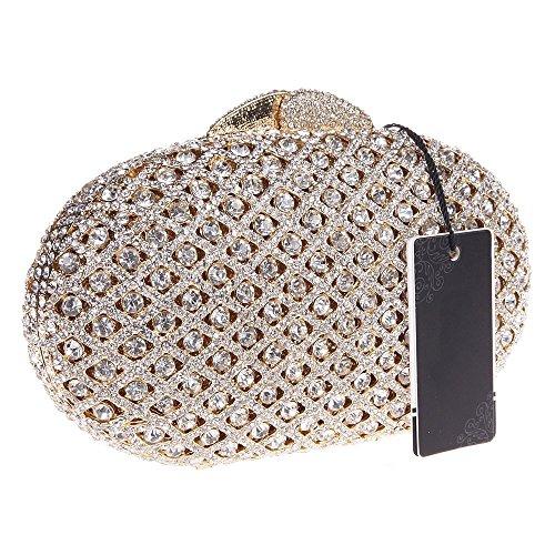 Damen Clutch Abendtasche Handtasche Geldbörse Glitzertasche Strass Kristall Ellipse Tasche mit wechselbare Trageketten von Santimon(3 Kolorit) Gold
