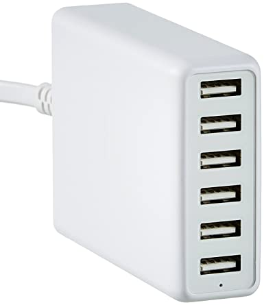 AmazonBasics 60W 6-Port Multi USB Wall Charger, White