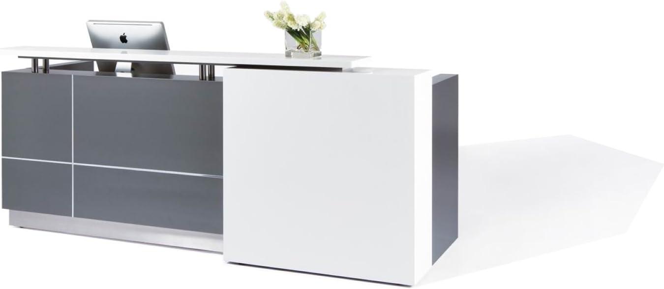 "Modern Reception Desk (98"") with White Quartz Stone Counter-TOP: Kitchen & Dining"