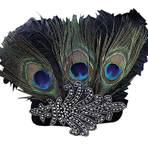 Topshop Roaring 20's Vintage Retro Flapper Great Gatsby Feather Headband Sequin Charleston Costume Dance Fascinator (Green)