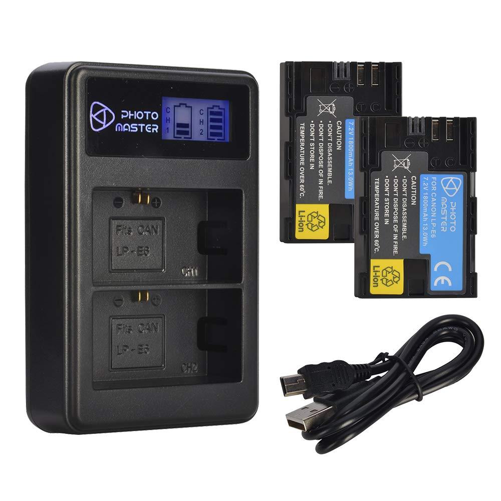 PHOTO MASTER Batteria LP-E6 LP-E6N per Canon EOS 80D, EOS 70D, EOS 60D, EOS 60Da, EOS R, EOS 5D Mark II, 5D Mark III, EOS 5D Mark IV, EOS 5DS, 5DS R, EOS 7D Series AZXYITCA039674FA