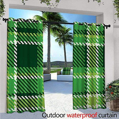 BlountDecor Checkered Fashions Drape W72 x L96 Old Fashioned Irish British Tile Mosaic in Vibrant Green Colors Outdoor Curtain Waterproof Rustproof Grommet Drape Emerald Lime Green White