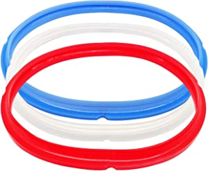 Alele Silicone Sealing Ring Red and Blue,Transparent White 3 Pack for Instant Pot Pressure Cookers 5qt or 6qt