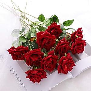 JUSTOYOU 10pcs Artificial Rose Velvet Flower Blossom Bridal Bouquet Home Wedding Decor (Red)