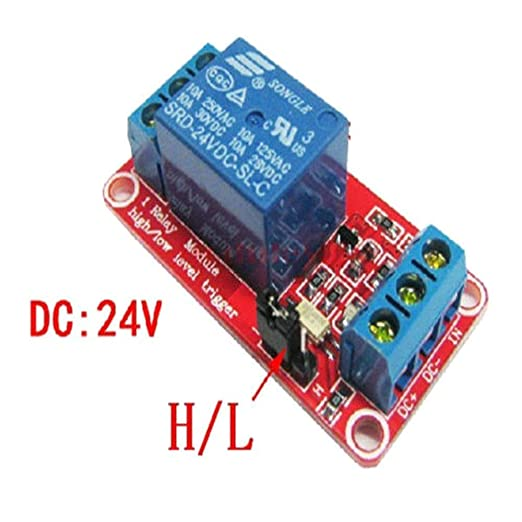 DC 24V 1 Channel Relay Module with Optocoupler H//L Level Trigger for Arduino