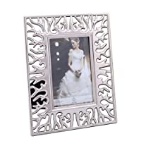 SXELODIE Photo Frame Silver Hollow Deer-Picture Frames With Mount-Glass Front,7Inch