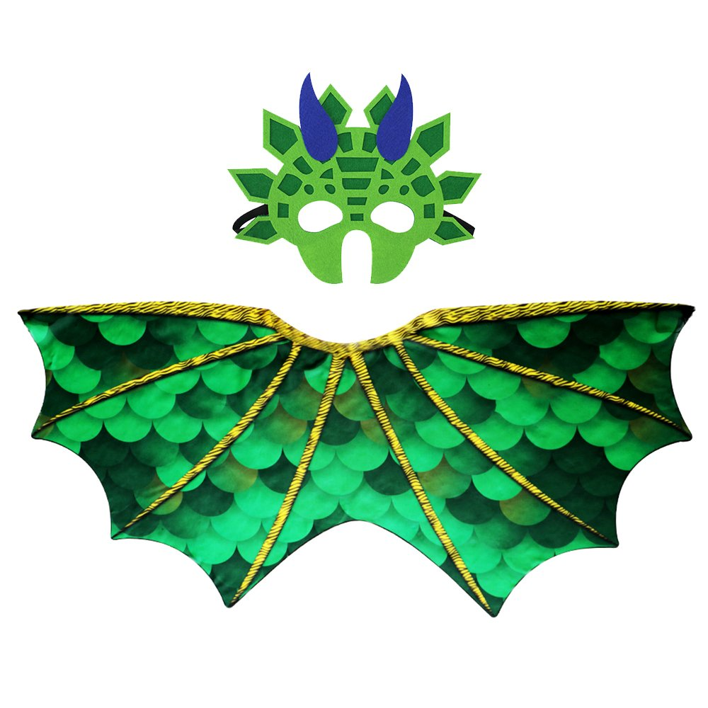 Kids Dinosaur Wings Costume with Felt Mask Dragon Cape Accessory-Boys Girls Pretend Play Dress up Party Games(Green)