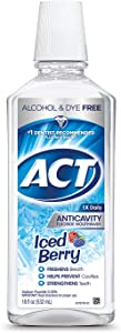 ACT Anticavity Alcohol-Free Fluoride Mouthwash, Iced Berry, 18 Ounce