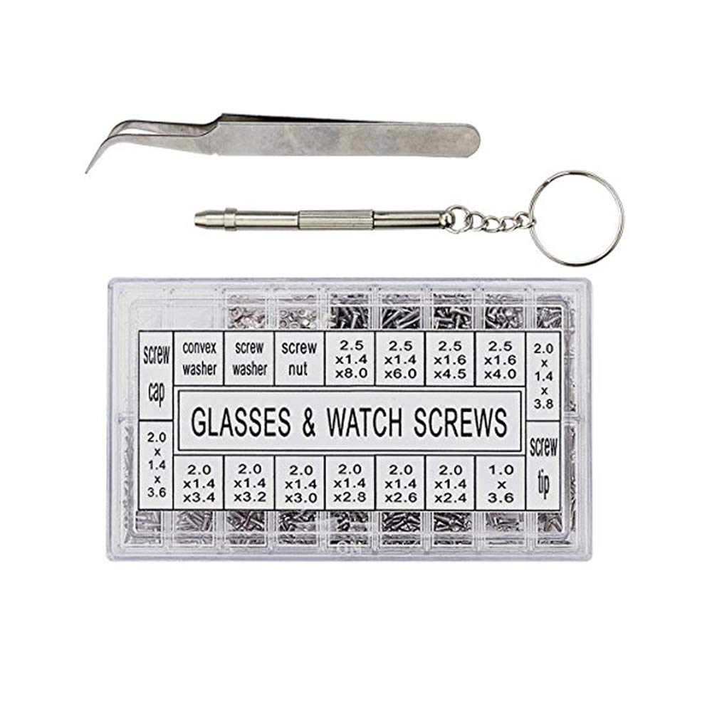 Hosim 1000pcs Eyeglass Repair Kit with Screws Tweezers Screwdriver Tiny Micro Stainless Steel Nut Assortment Kit, Repair Tool for Spectacles Sunglass Watch Clock Cell Phone Jewelry and Remote