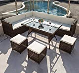 7 piece modular sectional - COMHO Sectional Patio Rattan Wicker Sofa Set Cushioned Seat & Glass Table 7-Pieces Outdoor Furniture 9 Seats