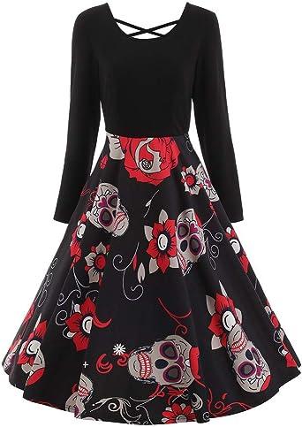 Sukienka damska Halloween koronka tuleje winobranie czaszka druk wieczÓr impreza gorset karnawałowy z asymetryczną spÓdnicą tiulową tutu kobiety długie rękawy eleganckie lata 50-te pett