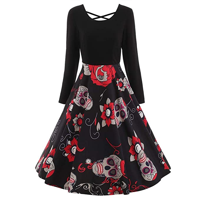 2028af1eac Overdose Despacho De Las Mujeres Vestidos De Disfraces De Halloween De  Encaje De Manga Larga De La Vendimia Elegante del CráNeo Imprimir Vestido  De Fiesta ...