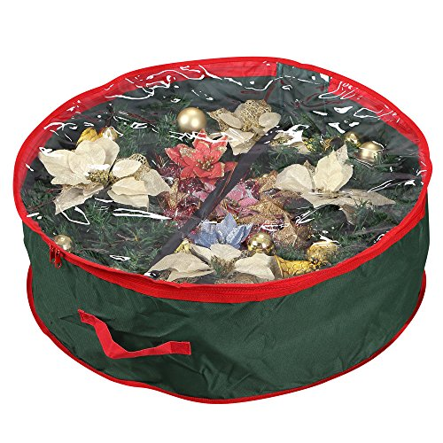 "Primode Wreath Storage Bag with Clear Window | Garland or Xmas Wreath Container for Easy Storage (30"" Holiday Wreath Bags) (Green) by Primode"