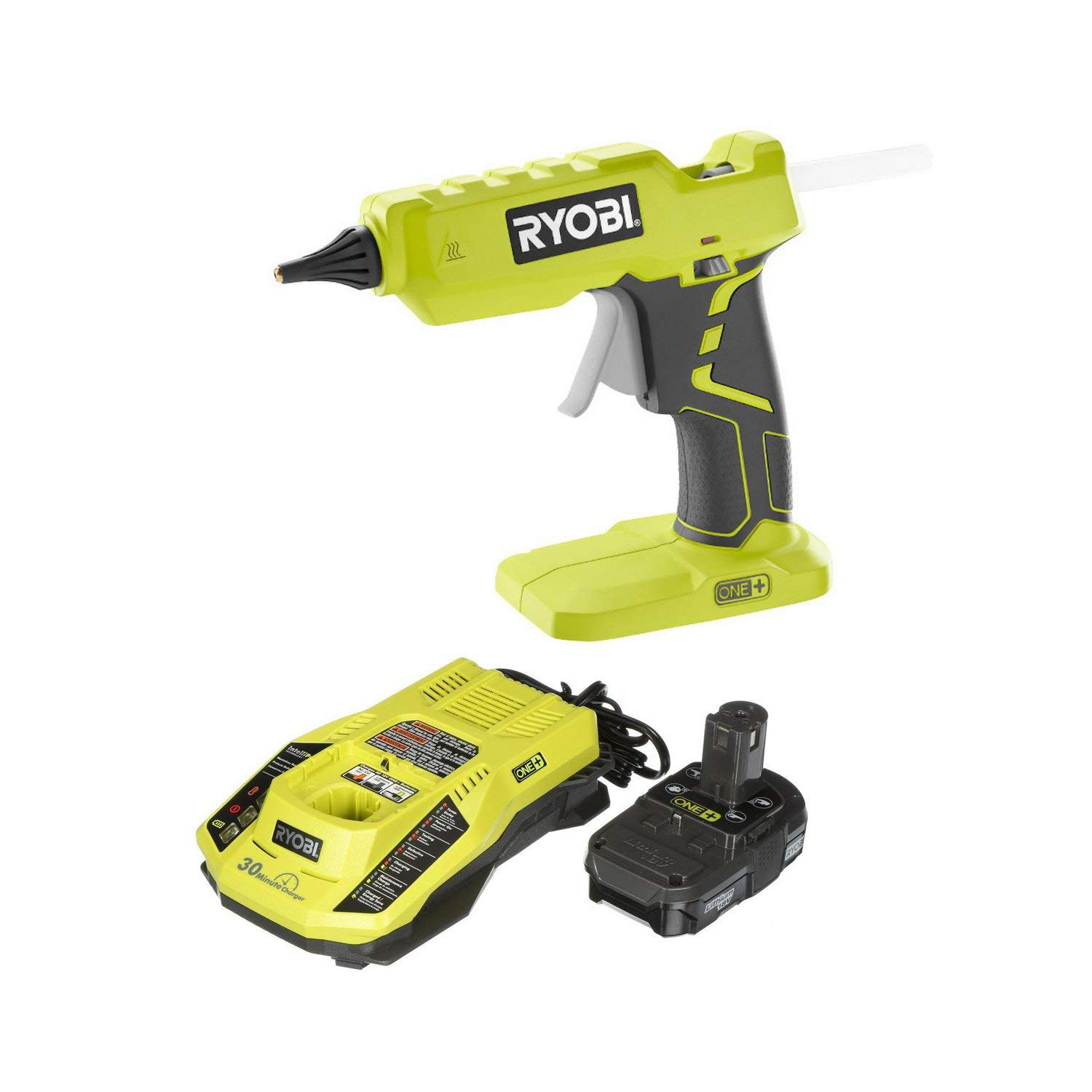 Ryobi 18-Volt ONE+ Cordless Full Size Glue Gun with Charger and 18-Volt ONE+ Lithium-Ion Battery (Bundle) (Renewed)