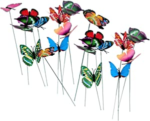 LW Butterfly Stakes, 50 pcs Colorful Garden Butterfly Ornaments Decor Indoor Outdoor Yard,Patio Plant Pot,Flower Bed,Christmas Decor