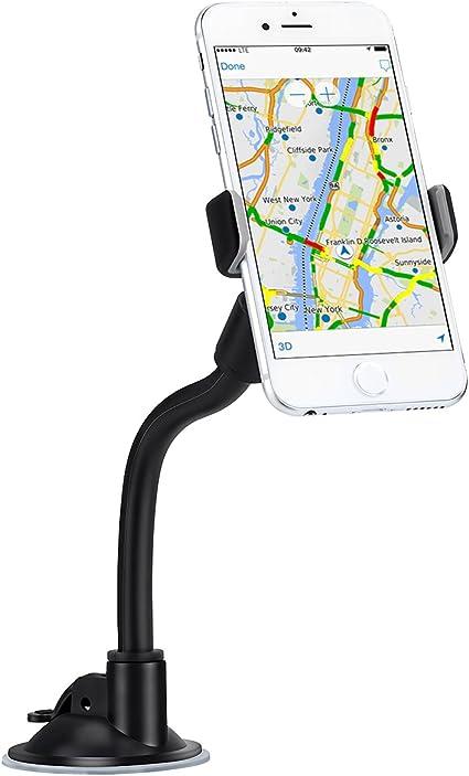 AUKEY Support T/él/éphone Voiture Rotation /à 360 Degr/és Tableau de Bord Pare-Brise Support Portable Voiture pour iPhone 12 // iPhone 11 // XS//8//7 Plus Noir Samsung Huawei et GPS
