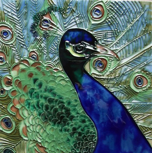 Decor Ceramic Tile (Continental Art Center BD-2226 8 by 8-Inch Blue and Green Peacock Ceramic Art Tile)