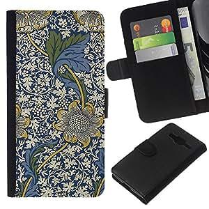 KLONGSHOP // Tirón de la caja Cartera de cuero con ranuras para tarjetas - Azul Diseño floral Flores blancas - Samsung Galaxy Core Prime //