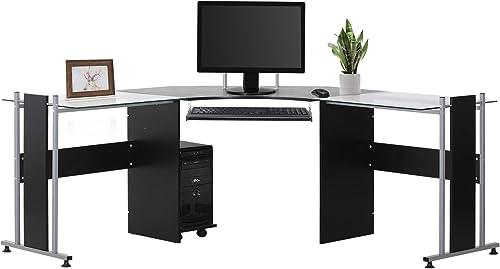 HOMCOM 69″ Modern L-Shaped Tempered Glass Office Computer Desk
