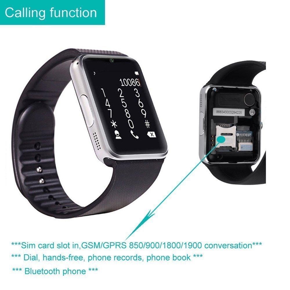Smart Watch avec carte SIM entrée maidealz GT08 Bluetooth Smart Watch Fitness Watch with Touch Screen Hands Free Calorie Counter Podomètre Bracelet Smart ...