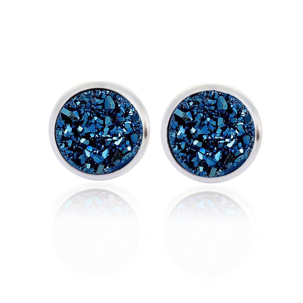 Dolovely Stainless Steel Druzy Stud Earrings Set for Girls Women Hypoallergenic Pierced Earrings 3PESET03-US