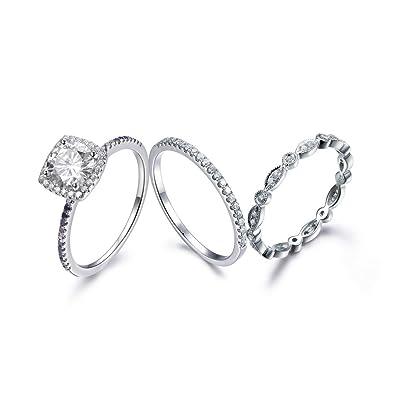 Amazon.com: 3pcs moissanita Juego de anillos de novia, 7.1 ...