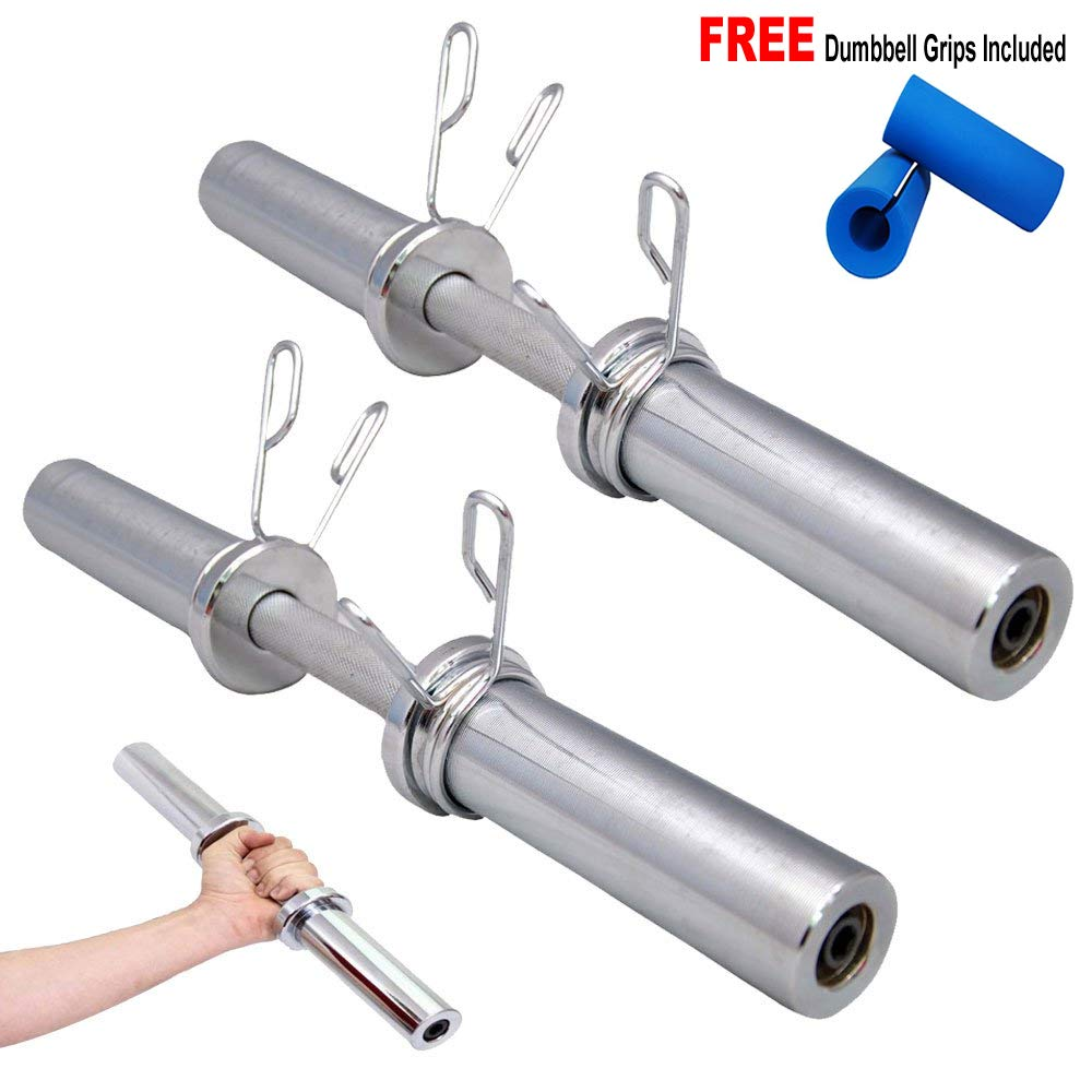 FITNESS MANIAC Heavy Duty Barbell 20 Inch Olympic Dumbbell Handle Pair Solid Steel Handles - Two Bars
