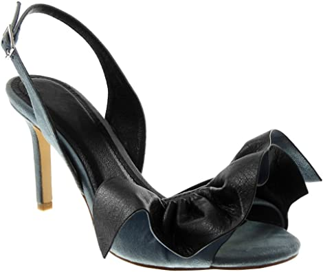 Femme Peep Toe Clouté Bottes Talons Aiguilles Chaussures 3-8