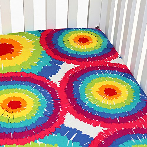 One-Grace-Place-Terrific-Tie-Dye-Tie-Dye-Crib-Sheet-Aqua-Blue-Royal-Blue-Purple-Yellow-Green-Orange-Pink-Red-and-White