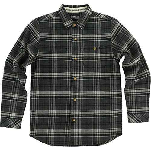 O'Neill Boys Redmond Flannel Button Up Long-Sleeve Shirt Medium Asphalt by O'Neill