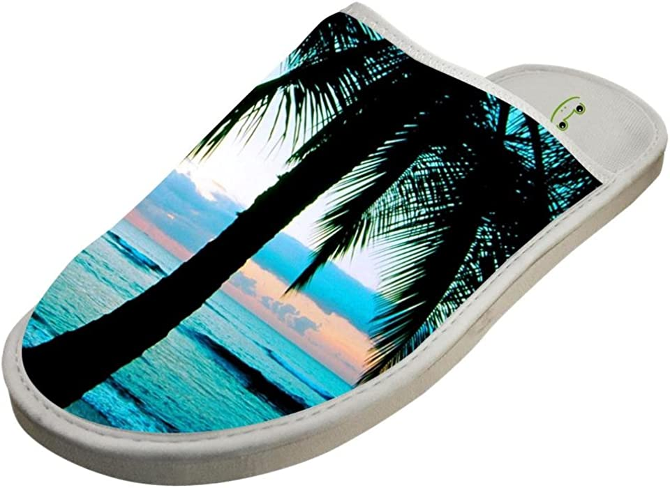 ff945e641 Slippers with Hawaii Coconut Tree Original Indoor Sandals Soft Shoes Flat  Winter Sleeppers 6 B(