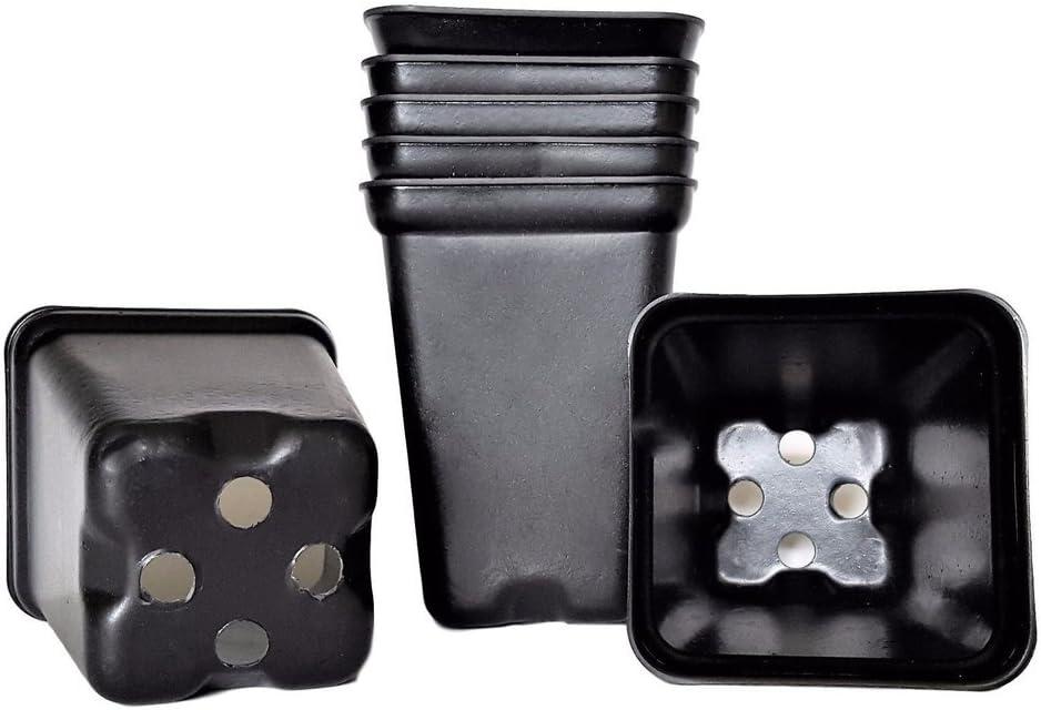 100 2 Inch pots for Starting seedlings 2 Square Durable Reusable Plastic Starter .Improved//Black