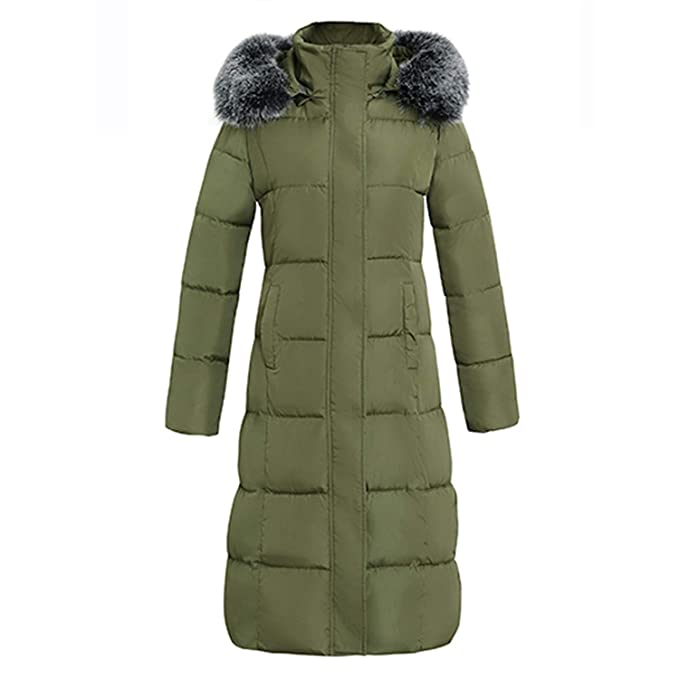 Amazon.com: Women Outerwear Button Coat Long Cotton-Padded Jackets Pocket Fur Hooded Coats Overcoat: Clothing