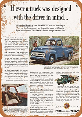Wall-Color 9 x 12 Metal Sign - 1953 Ford F-100 Pickup Trucks - Vintage -
