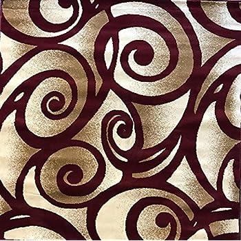 Amazon Com Modern Square Area Rug Burgundy Swirl Bellagio