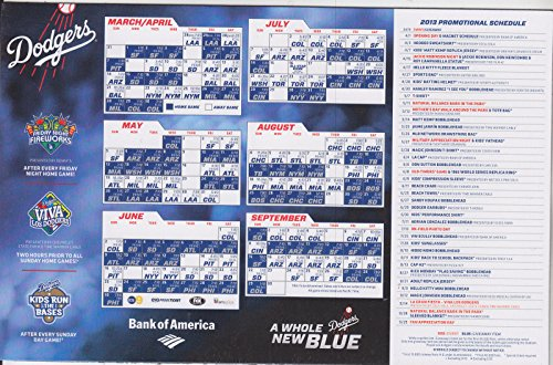 2013 LOS ANGELES DODGERS SCHEDULE MAGNET BANK OF AMERICA (Baseball Schedule Magnets)