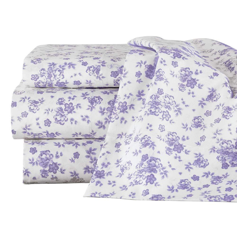 Collections Etc ラベンダー 全面花柄デザインシーツセット - フラットシーツ、ボックスシーツ、花柄枕カバー2枚、ホワイト枕カバー2枚 フル パープル 46311 LAVN FULL B07MSFPCB6 ラベンダー フル