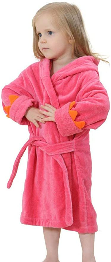 MyKazoe Toddler//Kids Terry Velour Dinosaur Bath Robe with Hood and Attached Belt