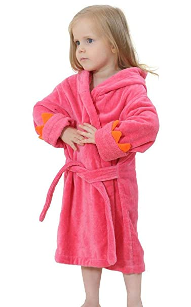 dba2d44adf14a Girls Boys Toddler Robe, Kids Hooded Cotton Terry Dinosaur Bathrobe (Rose,  Small/