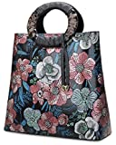 Pijushi Designer Floral Purses Women's Top Handle Handbag Leather Tote Bag Holiday Gift 6013 (Peony Floral)