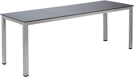 Kettalux Plus Dining Tisch aus Aluminium, rechteckige Tischplatte, in anthrazitsilber, 210 x 70 cm, Gartentisch Dinnertisch