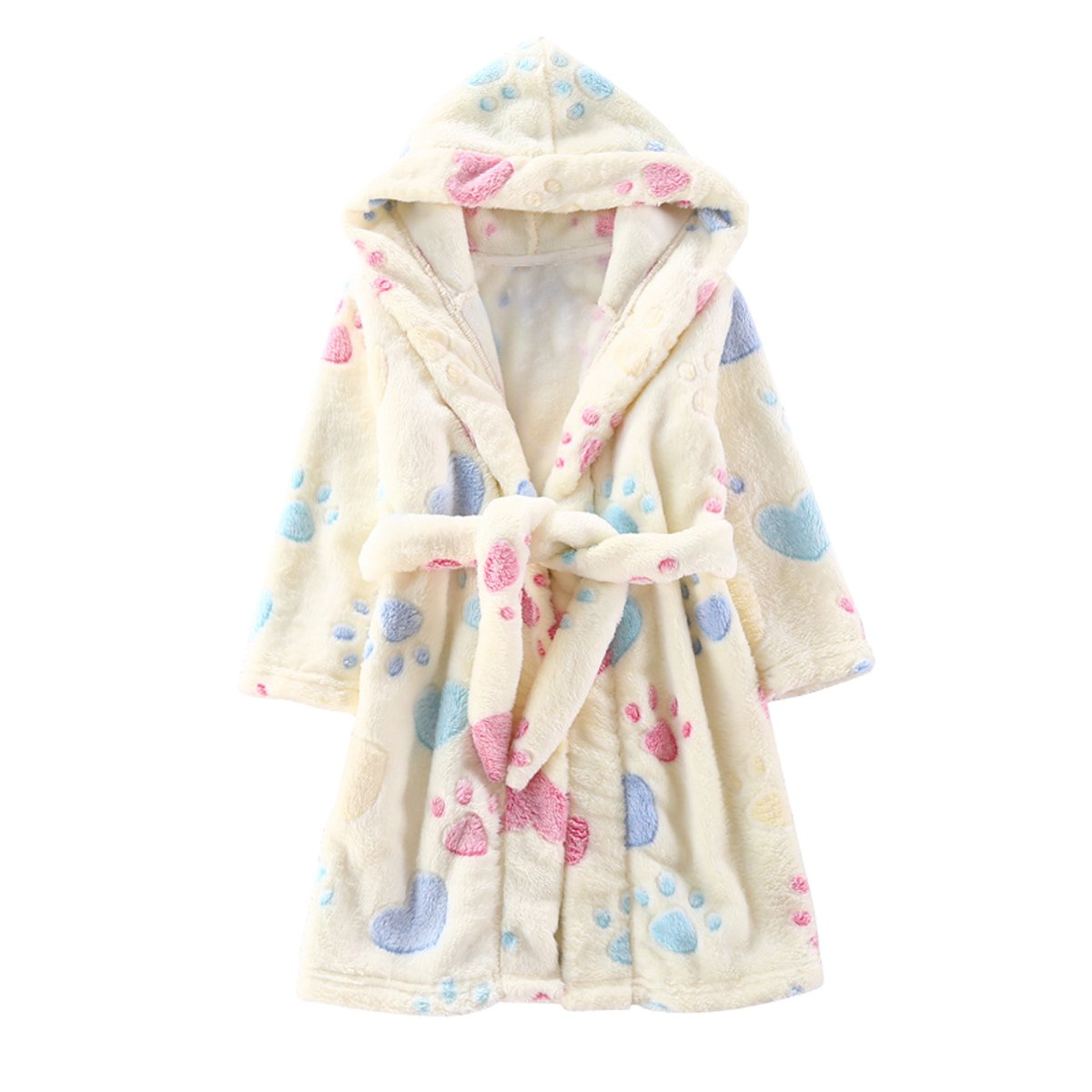 Toddlers/kids/baby Soft Fleece Bath Robe Children Pajamas Sleepwear With Hood (3T, Yellow)