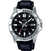 Casio 卡西欧 MTP-VD01L-1EV 男式 Enticer 不锈钢 黑色表盘休闲模拟运动手表