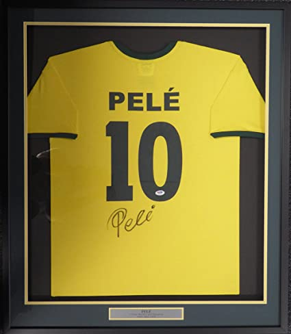 d1fc47b5f Image Unavailable. Image not available for. Color: CBD Brazil Pele  Autographed Framed Yellow Copa Mundo Short Sleeve Jersey ...